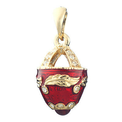 Faberge Egg Pendant / Charm with crystals 2.6 cm red #6101-05
