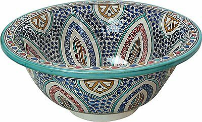 Fes Multic Ceramic Moroccan Bathroom Sink Basin Hand -Painted inside- out D 40cm