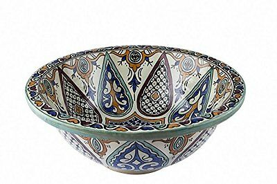 Fes new Ceramic Moroccan Bathroom Sink Basin Hand Painted inside- out D 40cm