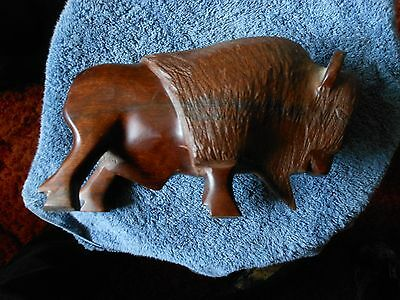 Wood Carving Bison Buffalo Figurine 5.75""