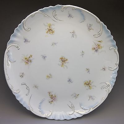Antique Carlsbad Austria Large Charger Plate Vanity Tray Blue Flowers Porcelain