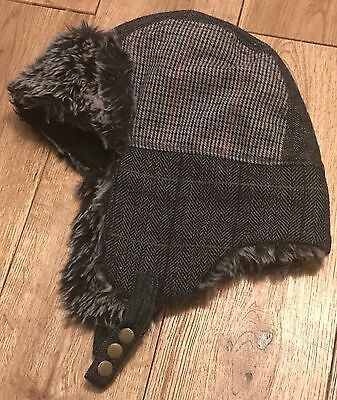Boys Next Aviator Trapper Fur Lined Hat Warm For Winter Age 7-10 Years Twins 2/2