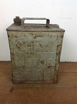 Vintage SHELL Tin Petrol Jerry Can Brass Cap Car Automobile Advertising Old