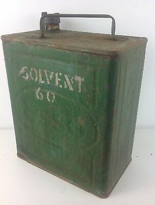 Vintage Green ESSO Petrol Jerry Can Brass Cap Car Automobile Advertising Old