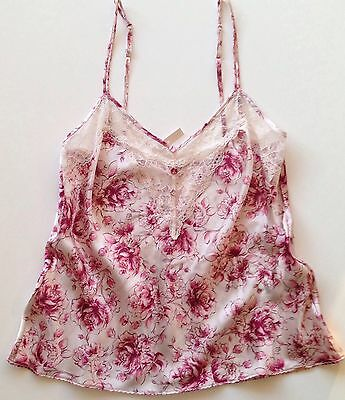 M&S SILK CAMISOLE 10 Rosie for Autograph PINK 85% Silk + Rose Lace RRP £35 BNWT