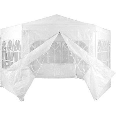 Pavilion PE Garden tent WATERPROOF Hexagonal with 6 Sides white
