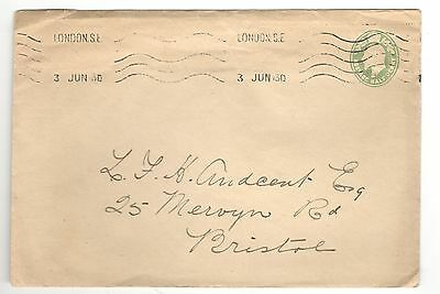 King Edward VII - Embossed 1/2d Green - Cover - London to Bristol