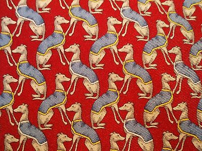 Brooks Brothers Men's Red Silk Novelty Necktie With Greyhounds or Whippets