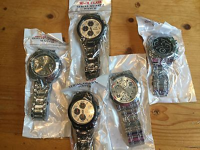 Wholesale or Joblot Mens watches x 5 ~METAL BRACELET/STRAP~ Brand new lot AW4