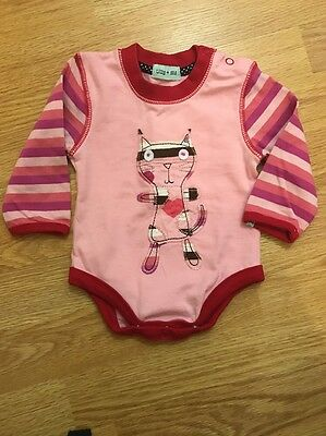 Baby Girl Pink Long Sleeved Vest Top With Cat Design, Size 0-3months NWT