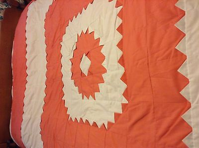 """Pretty  HOME MADE QUILT Machine Stitched 90x84"""" med-heavy weight UNUSED Coral"""