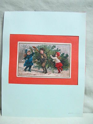 Antique  Matted Christmas Card Print