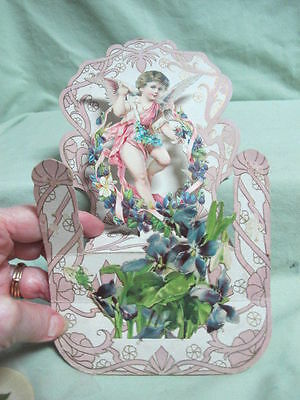 Antique Die Cut - 2 Layer Card with Angel and Flowers