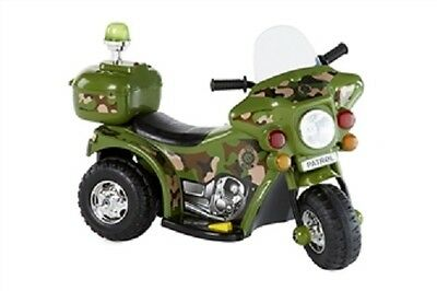 .NEW Kids 6V Ride on Electric Bike ARMY Flash Siren Outdoor Indoor Toy Xmas Toys