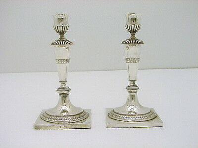 Set of 2 Breslau Germany Poland Sterling Silver Candle Stick Hallmarked LF c1780