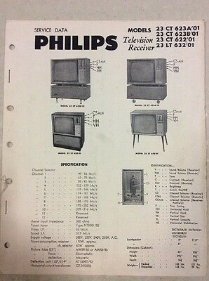 Vintage Philips Television Manual 1960's Service Data Original