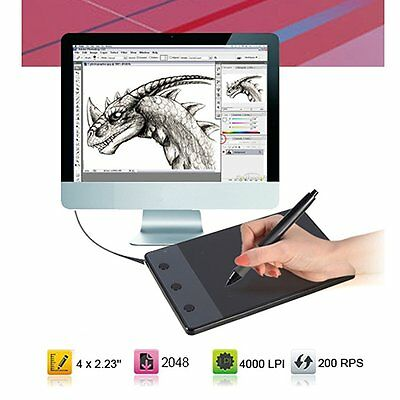 """HUION H420 Art Graphics Drawing Tablet Pad 4"""" x 2.23"""" USB for Windows Mac OS UK"""