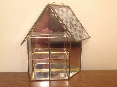 Vtg Glass & Brass House Shaped Miniature Curio Display Case w Mirrored Back