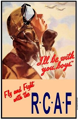 Set of 4 WW2 POSTERS RCAF Restored! AA war military, propaganda,Canada,air force