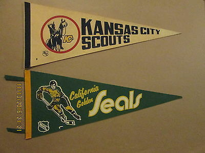 NHL Kansas City Scouts & Californiia Golden Seals Vintage Lot of 2 Pennants