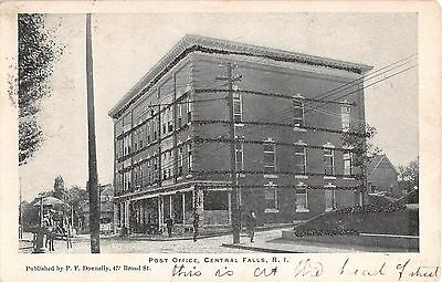 1907 Post Office & Stores Central Falls RI post card