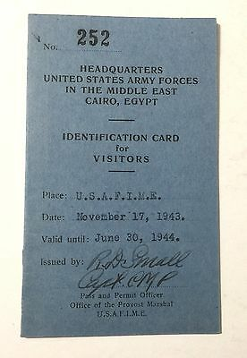 WWII 1943 ID CARD to CAIRO CONFERENCE, FDR'S BODYGUARD GERALD BEHN