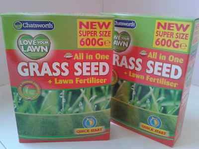 2 Chatsworth 'Love-Your-Lawn' GRASS SEED + Lawn Fertiliser-Super Size 600g ..