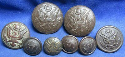 WWI Plastic Bakelite or Cloth Covered Army Buttons Lot Of 8 - RARE