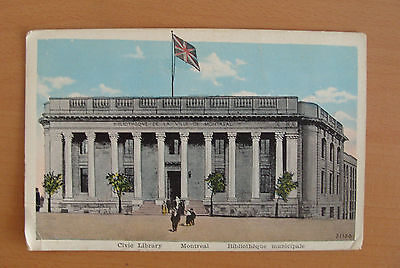 Vintage postcard- Civic Library, Montreal, Canada