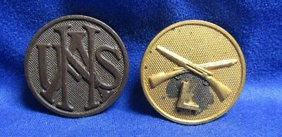 WWI USNA National Army and Infantry L Company Enlisted Discs Lot Of 2