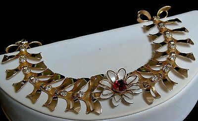 Vintage BN Bugbee and Niles Enamel and Rhinestone Flower and Bows Link Bracelet