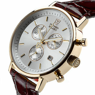 DETOMASO Milano Mens Watch Classic Chronograph Stainless Steel Gold Plated New