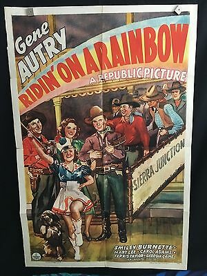 Ridin' On A Rainbow RARE One Sheet Movie Poster Gene Autry Cowboy Western