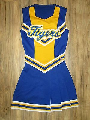 Real High School Cheerleader Uniform TIGERS Cheer Outfit Costume 32/24 Blue Gold