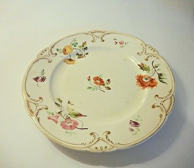 Antique Early Derby Plate, Painted Flowers, 1825-1848