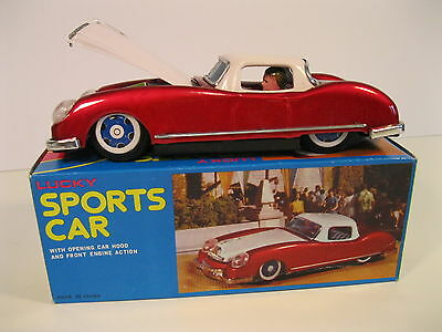 SPORTS CAR LUCKY 1980's CHINA FRICTION WITH DRIVER METAL w/BOX MINT MF753