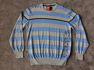 KicKers Mens Light Blue & Grey Striped Cotton Sweater Jumper XL