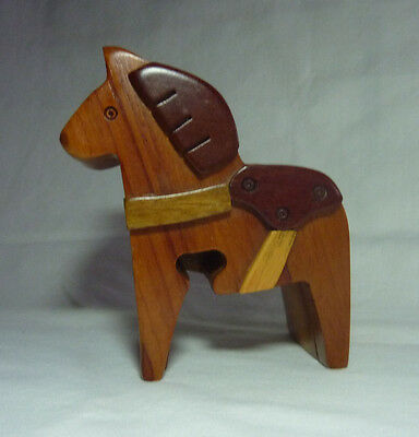 Horse Carved Wood Puzzle Jewelry Box Trinket Secret Compartment Stash Box
