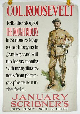 """THEODORE ROOSEVELT ORIGINAL PROMOTIONAL """"ROUGH RIDERS"""" Book Promotional POSTER"""