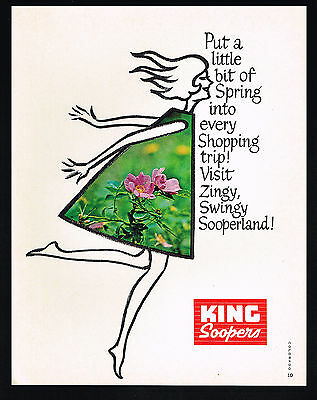 1966 King Soopers Grocery Store Supermarket Shopper Spring Dress Print Ad