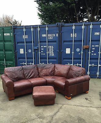 Lovely  Brown Leather Corner Sofa And Footstool *Can Deliver*