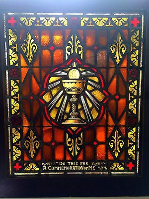 Antique Sacristy Catholic Church Stained Glass Window Architectural Salvage