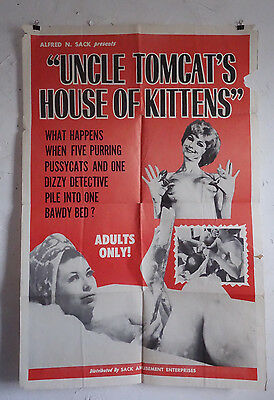 Uncle TOMCATS HOUSE of KITTENS Exploitation Nudie Cuties 1-sheet Movie Poster