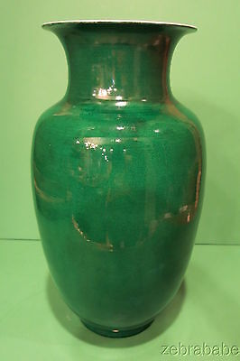 "Antique Chinese Porcelain Vase Dark Emerald Green 15"" Late 18th/Early 19th"