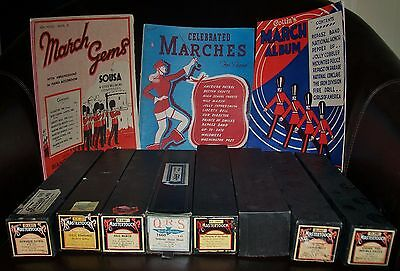 BULK LOT 8 x VINTAGE PIANOLA ROLLS & 3 x SHEET MUSIC BOOKS MARCH/MARCHING ALBUMS