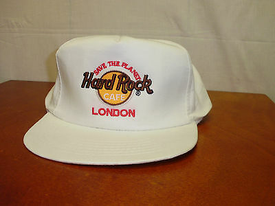Vtg. Hard Rock Cafe London White Cotton Big Style Adjustable Strap Back Hat Cap