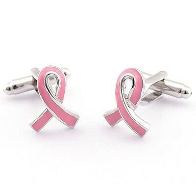 Pair of Pink Ribbon CANCER Awareness CUFF LINKS in Gift Box ~ Brass Metal