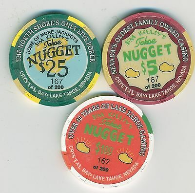 ONLY 200 MADE-Jim Kelley's Tahoe Nugget limited edition chip set - $25, $5, $1