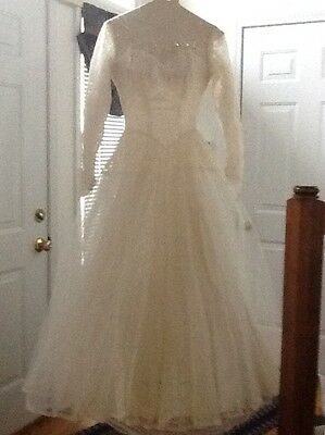 Vintage 1950's Wedding Dress with Under-Hoop and Other Accessories in Orig. Box