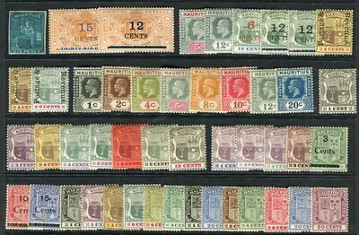 MAURITIUS;  1850s-1920s early issues fine Mint hinged range of values